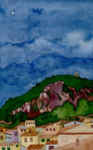"""a mountain + its sky, 2"" © lisabette brinkman 2012 6""x10"", watercolor & gouache on arches cold pressed"