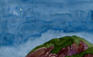 """a mountain + its sky, 1"" © lisabette brinkman 2012  6""x10"", watercolor & gouache on arches cold pressed"