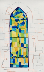 """sor clara's sacred window"" © lisabette brinkman 2012 6""x10"", watercolor on arches cold pressed"