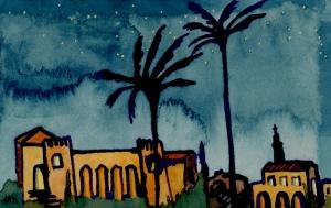 """una noche en españa"" © lisabette brinkman 2012 3.5""x5.5"", violet ink, watercolor + gouache on paper"