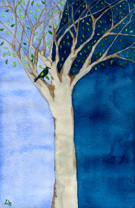 """""""thE tRee oF niGHt + daY"""" © lisabette brinkman 2013  5""""x8"""", watercolor on paper"""