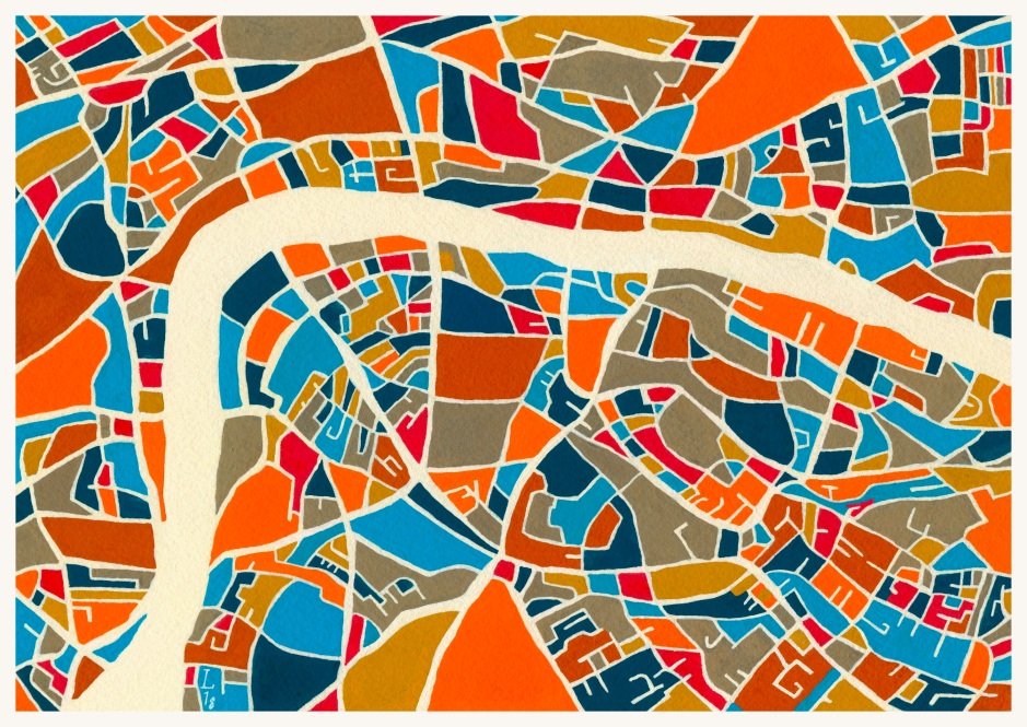 "map of london, 9 6:8""x6 3:4"" pencil, gouache + acryla gouache on arches grain fin"