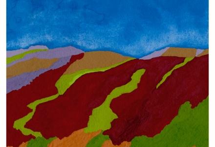 """~andalucia color study~ 4 1/4' x 4 1/4"""" pencil, gouache + acryla gouache on arches hot pressed © lisabette brinkman 2019"""