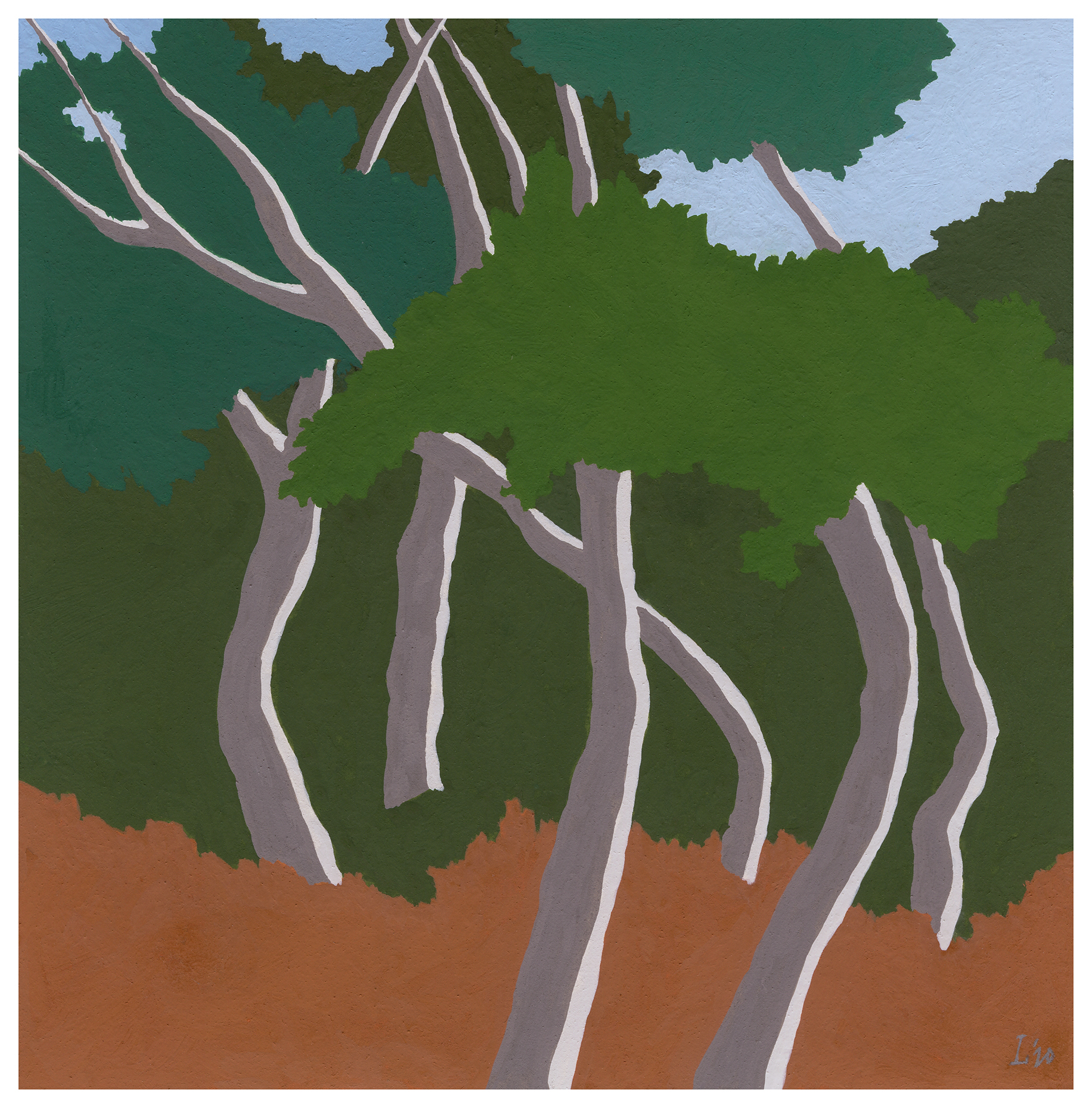 """a pristine day at the forest's edge, ibiza,2020,6""""x5 7-8"""" gouache + acryla gouache on arches hot pressed"""